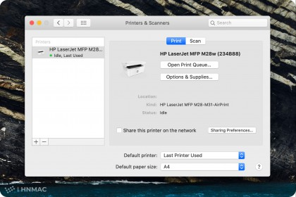 Hướng dẫn cài đặt máy in qua wifi cho Macbook bằng phương pháp dò IP