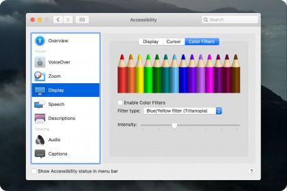 Hướng dẫn sử dụng bộ lọc màu Color Filters của MacOS