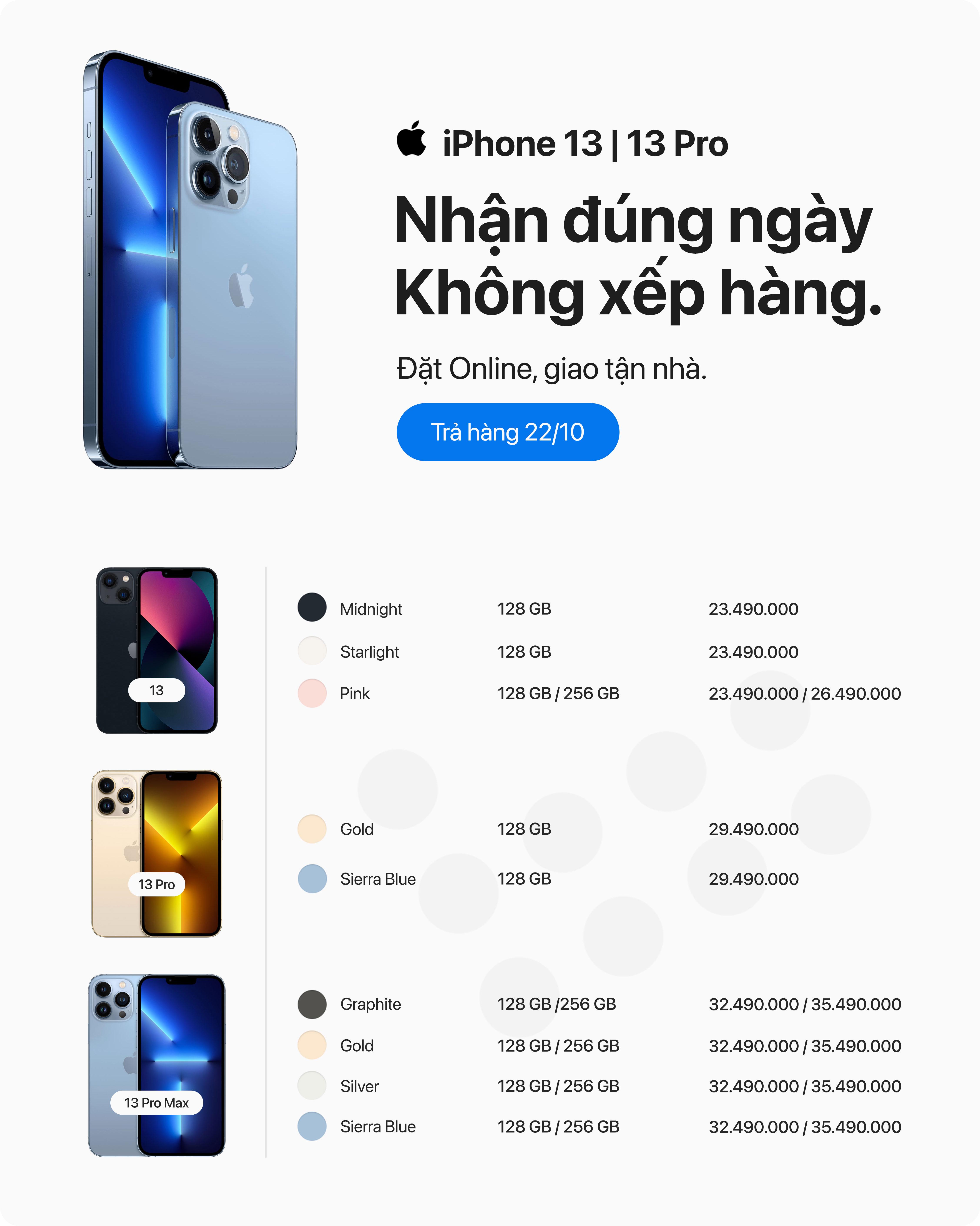 Đặt hàng iPhone 13 Series 2021 với giá tốt nhất